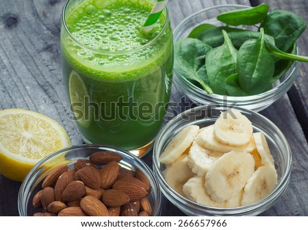 Green fresh healthy smoothie with fruits and vegetables  - stock photo
