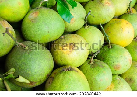 green fresh of pomelos at fruit market