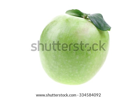 green fresh ripe apple isolated over white background - stock photo
