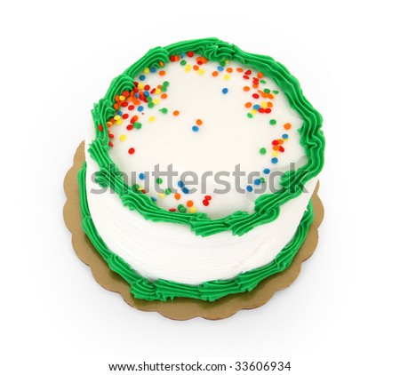 Green Frosted Cake with Sprinkles on Isolated Background - stock photo