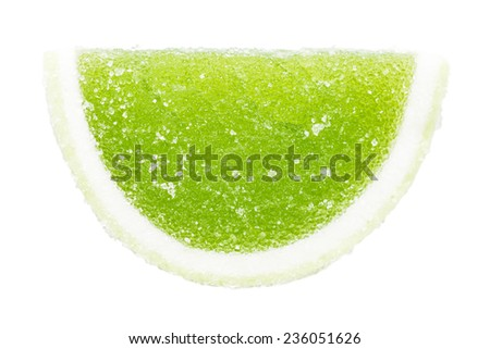 Green Fruit Jelly Isolated On White - stock photo