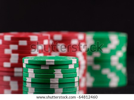 Green Gambling Chips - stock photo