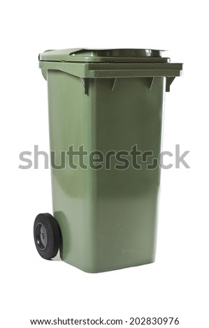 Green garbage bin isolated on white. Studio shot