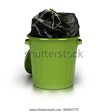 green garbage can over a white background with a plastic closed bag inside - studio shot plus 3d trash - stock photo