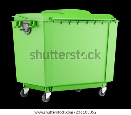 green garbage container isolated on black background - stock photo