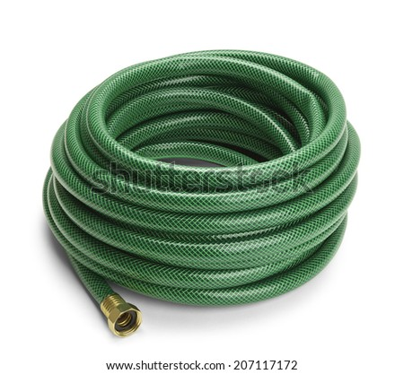 Green Garden Hose Rolled Up Isolated on a White Background. - stock photo