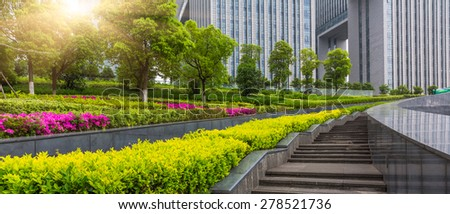 green garden in the Office area at shanghai china. - stock photo