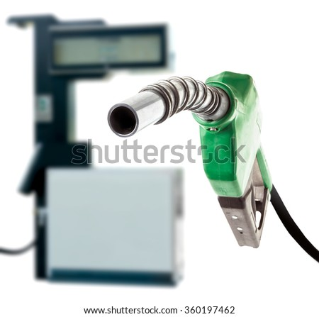 Green gas nozzle and the station on white background - stock photo