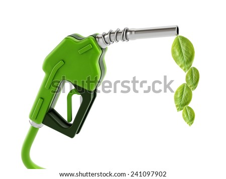 Green gas nozzle with leaves isolated on white background.