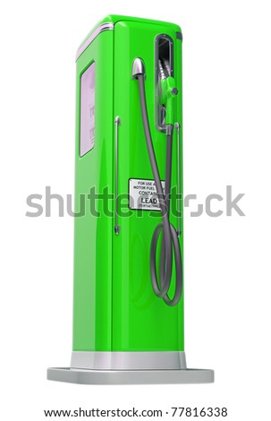 Green gasoline pump isolated over white background. Side view - stock photo