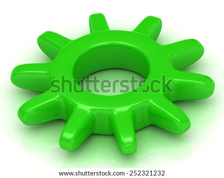 Green gear on a white background. Work concept  - stock photo