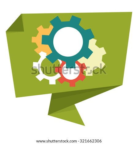Green Gear Paper Origami Speech Bubble or Speech Balloon Infographics Sticker, Label, Sign or Icon Isolated on White Background