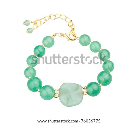 green gemstone bracelet a cute jewelry from nature - stock photo