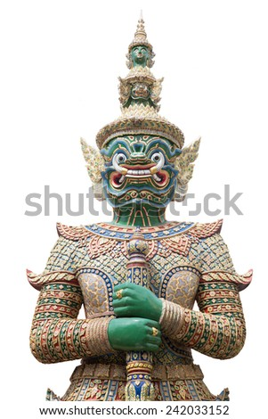 Green Giant in the Temple of the Emerald Buddha, Bangkok - stock photo