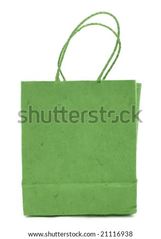 green gift bag on a white background