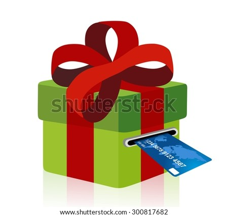 green gift box with credit card - stock photo
