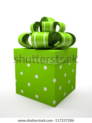 Green gift box with green bow isolated on white backgroung illustration - stock photo