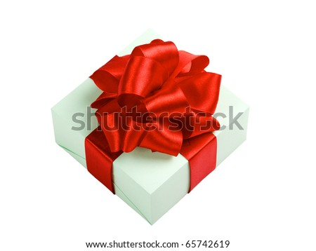 green gift box with red ribbon and bow isolated on white