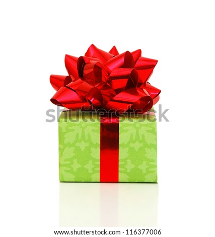 Green gift box with ribbon and bow isolated on the white background, clipping path included. - stock photo