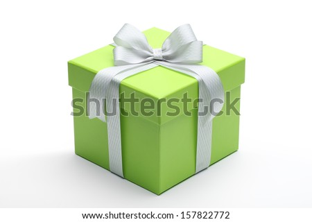 Green gift box with silver ribbon and bow - stock photo