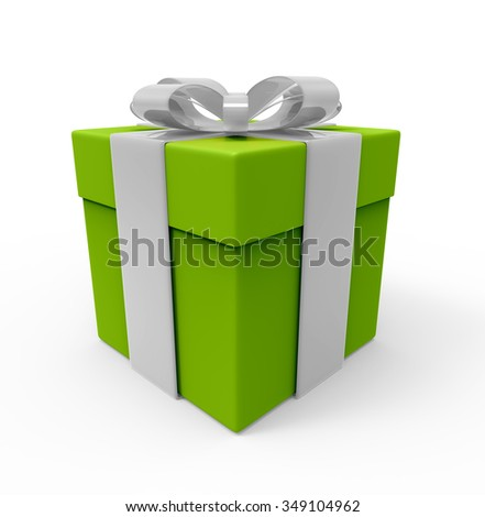 Green gift box with white ribbon. isolated on the white background with path.