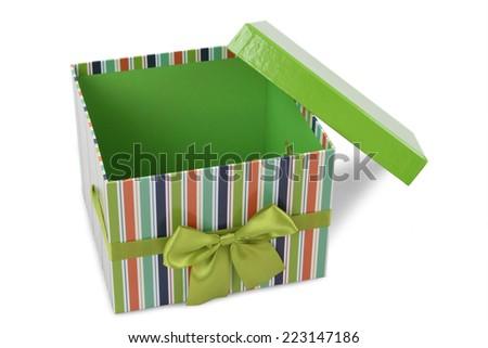 green gift boxes on white background  - stock photo
