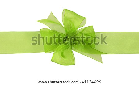 green gift chiffon ribbon bow on white background - stock photo