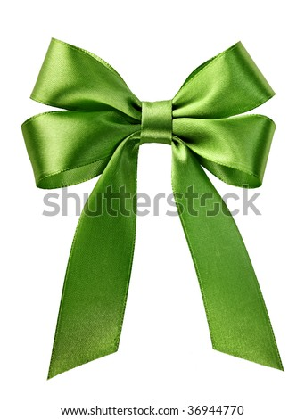 green gift satin ribbon bow on white background