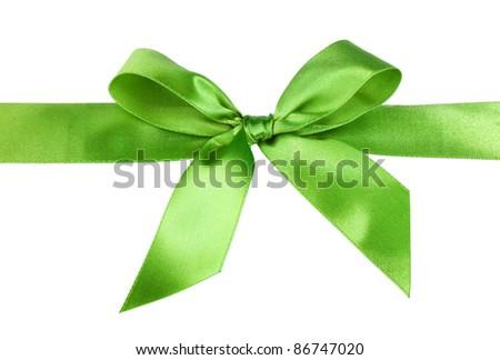 green gift satin ribbon bow on white background - stock photo