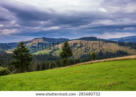 Green glade on mountain background - stock photo