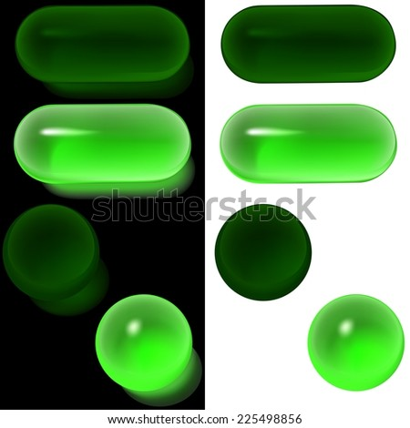 Green Glass Buttons (On, Off) - Colored Illustration - stock photo