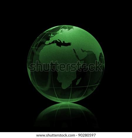 Green Glass globe on a black background - stock photo