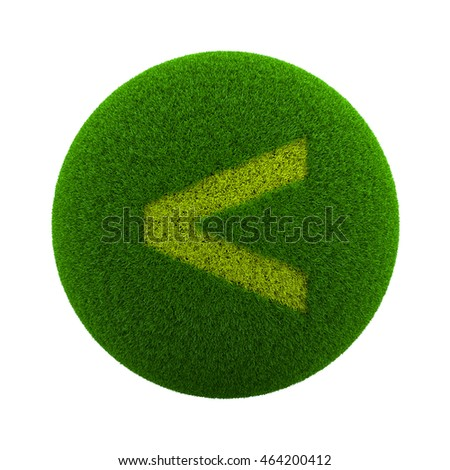 Green Globe with Grass Cutted in the Shape of a Minor Sign Symbol 3D Illustration Isolated on White Background