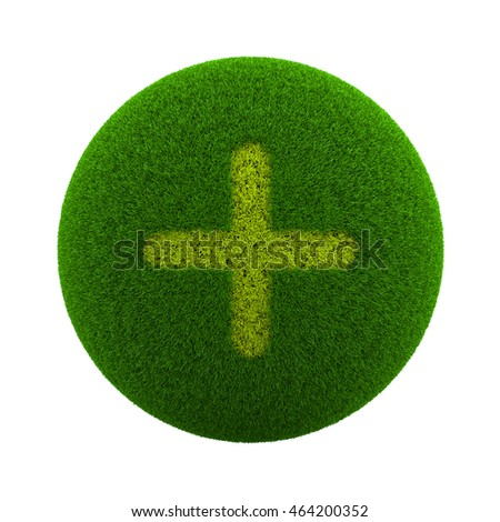 Green Globe with Grass Cutted in the Shape of a Plus Symbol 3D Illustration Isolated on White Background