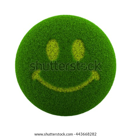 Green Globe with Grass Cutted in the Shape of a Smile Symbol 3D Illustration Isolated on White Background