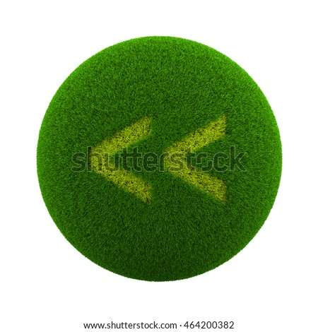 Green Globe with Grass Cutted in the Shape of Backward Symbol 3D Illustration Isolated on White Background