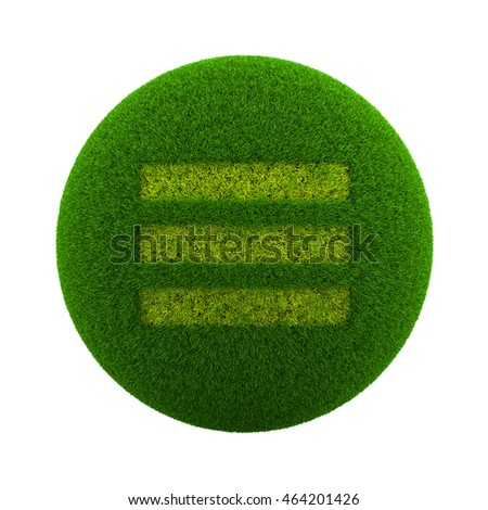 Green Globe with Grass Cutted in the Shape of Three Lines App Menu Symbol 3D Illustration Isolated on White Background