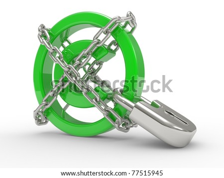 green glossy copyright sign and chains  on a white background - stock photo