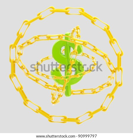 Green glossy dollar sign encircled with golden chains isolated on grey - stock photo