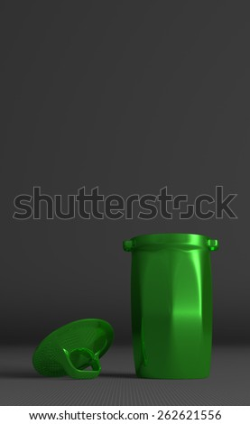 Green glossy rubbish bin and cover on gray squared background