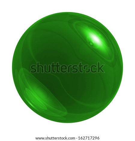 Green glossy sphere on white background - stock photo
