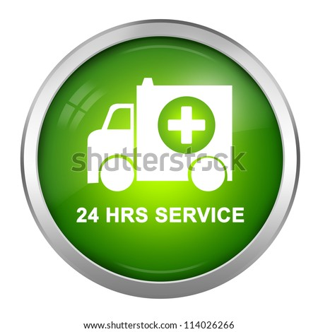 Green Glossy Style 24 HRS Service Sign, Ambulance Car With Cross Sign Inside Isolate on White Background - stock photo