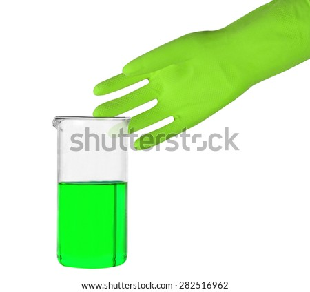 Green glove and a test tube