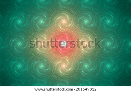Green glowing geometric background with a detailed spiral pattern resembling storm vortexes and with a large bright central vortex in yellow and orange colors