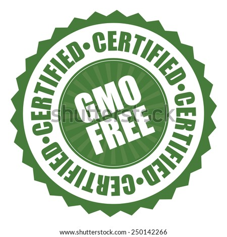 green gmo free certified icon, tag, label, badge, sign, sticker isolated on white