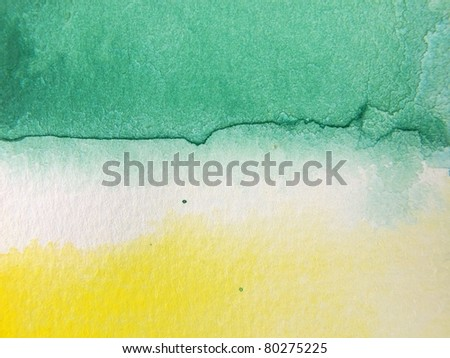 Green & Gold Watercolor Background 1 - stock photo