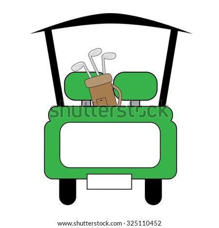 Green Golf Cart - stock photo