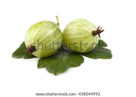 Green gooseberries on leaf
