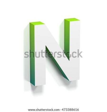 Green gradient and soft shadow font. Letter N. 3D render illustration isolated on white background