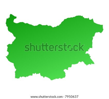 Green gradient Bulgaria map. Detailed, Mercator projection.